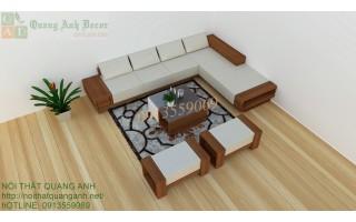Bàn ghế sofa gỗ góc đẹp cho phòng khách hiện đại SFG118