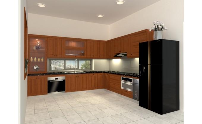 Tủ bếp gỗ gõ đỏ TBG201