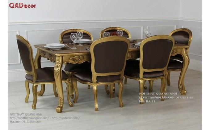 Bộ bàn ghế phòng ăn cổ điển Châu Âu BA08