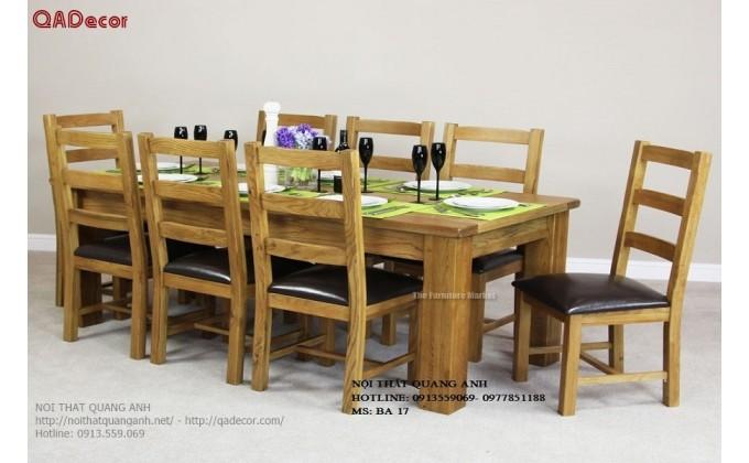 Bộ bàn ghế phòng ăn hiện đại gỗ Sồi Nga BA17