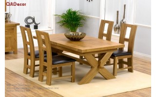 Bàn ghế ăn hiện đại gỗ Sồi Nga BA26