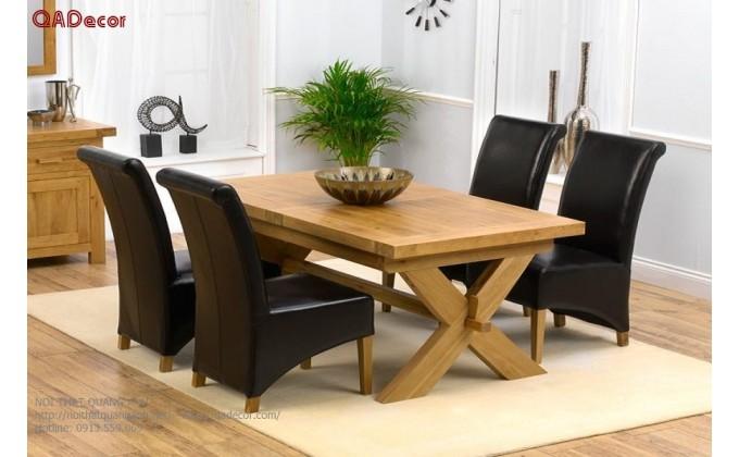 Bộ bàn ghế phòng ăn gỗ Sồi Nga BA48
