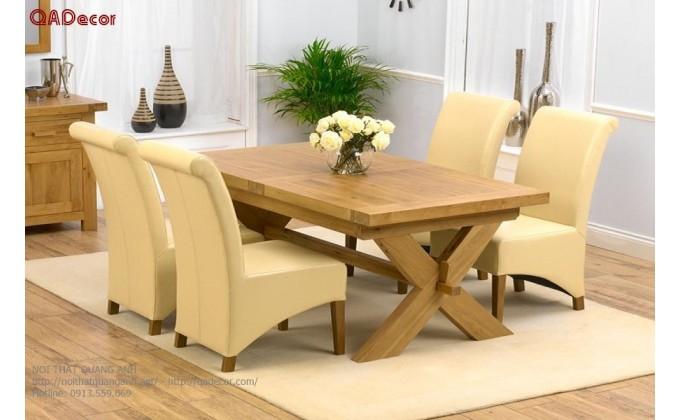 Bộ bàn ghế phòng ăn gỗ Sồi Nga BA50