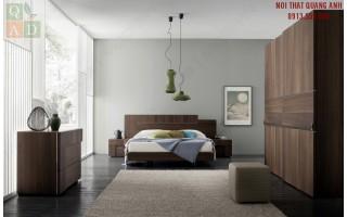 Thiết kế nội thất phòng ngủ gỗ Óc chó Walnut PN63