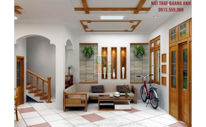 Những mẫu sofa gỗ góc cho phòng khách đẹp SFG91