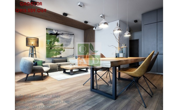 Thiết kế nội thất chung cư sang trọng cho cặp vợ chồng trẻ
