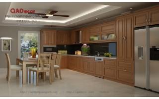 Tủ bếp gỗ Sồi Nga TBGS1
