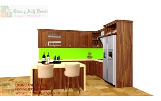 Mẫu tủ bếp gỗ óc chó TBG121