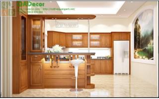 Tủ bếp gỗ Sồi Nga TBGS8