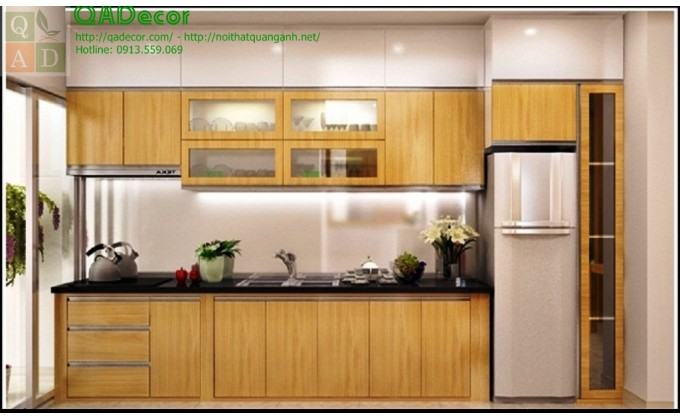 Tủ bếp gỗ Sồi Nga TBGS9