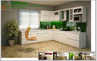 Tủ bếp gỗ màu trắng góc chữ L - TBG01