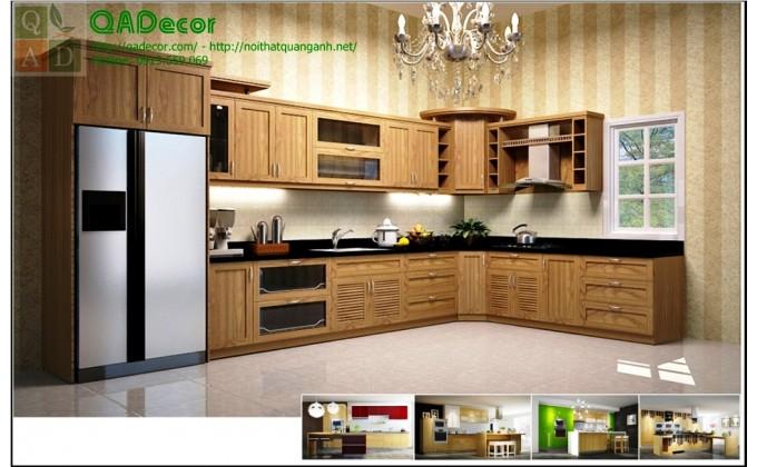 Tủ bếp gỗ góc chữ L - TBG02