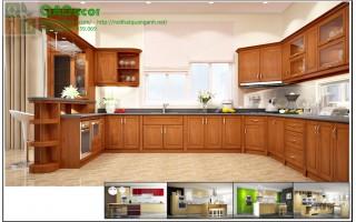 Tủ bếp gỗ TỰ NHIÊN cao cấp dạng chữ U - TBU1