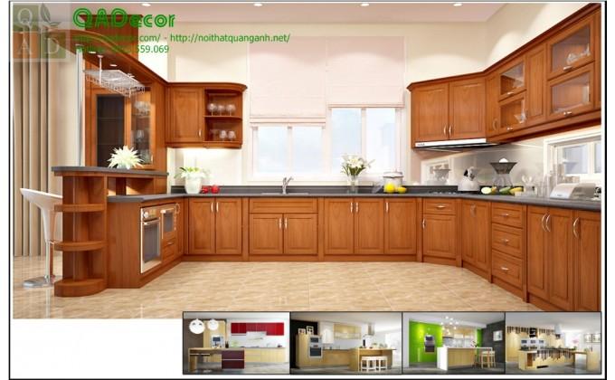 Mẫu tủ bếp gỗ đẹp sang trọng  TBG1
