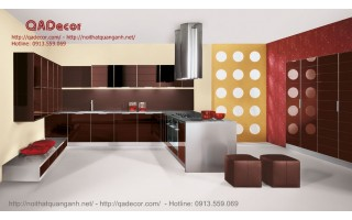 Tủ bếp gỗ Acrylic TBA601