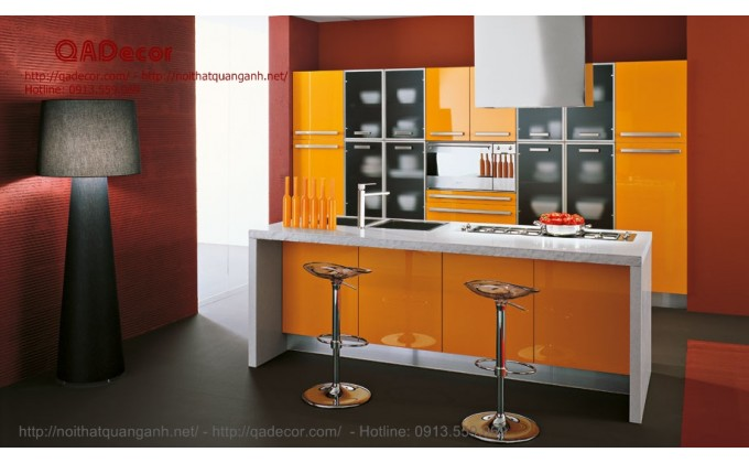 Mẫu tủ bếp đảo gỗ Acrylic TBA901