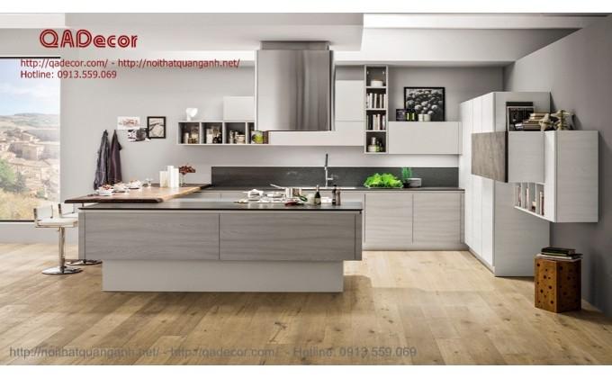 Mẫu tủ bếp laminate có đảo TBL601